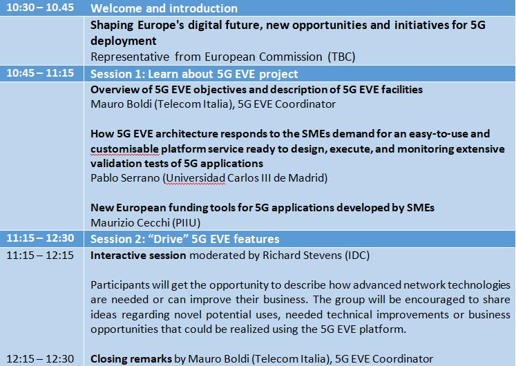 2nd 5G EVE Learn & Drive Agenda